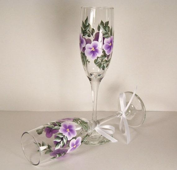 Lavender Flowered Champagne Glasses