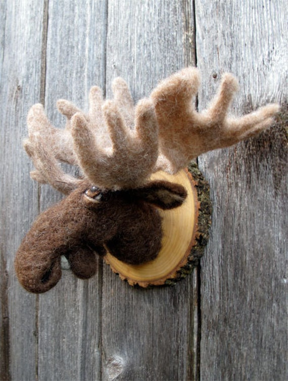 Miniature faux hunting trophy: moose