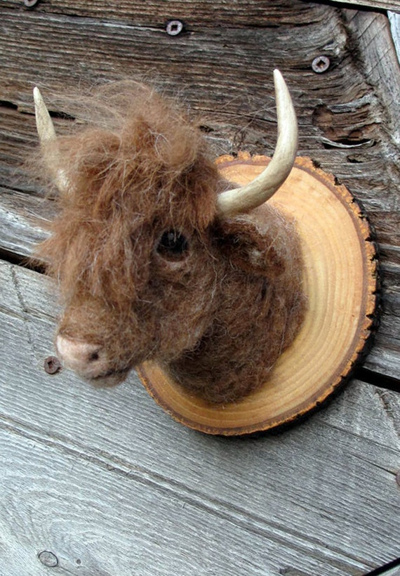 Faux miniature needle felted animal trophy
