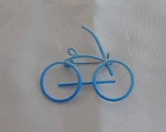 Light Blue Spray Paint Bicycle Brooch Pin Good Condition