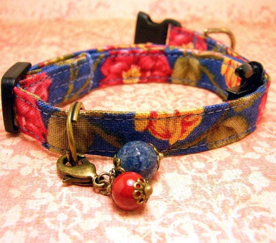 Small mini  dog collar - Red and Yellow roses on a blue background with a capped agate and pearl charm on antique brass.
