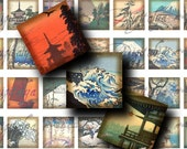 Asian Landscape (1) Digital Collage Sheet - Country, Seaside, Temples - 56 Squares 1 inch or 0.875 inch or scrabble - Buy 3 Get 1 Extra Free