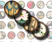 Asian Flora (1) Digital Collage Sheet - Flowers, Foliage from Ancient Asia - 48 Circles 1inch or smaller - Buy 3 Get 1 Extra Free