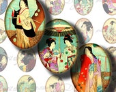 Japanese Ladies (7) Ovals 30x40mm or 18x25mm or other sizes - Women and Girls from Asia - Digital Collage Sheet - Buy 3 Get 1 Extra Free