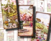 Japanese Traditional Gardens (2) Digital Collage Sheet - Dominos 1x2 inch with flower garden sceneries - See Promo Offer
