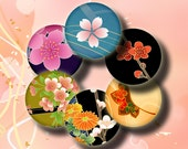 Simply Sakura (3) Spirited Japanese Flower blossoms 48 Circles 1inch - 25mm or smaller Digital Collage Sheet - Buy 3 Get 1 Extra Free