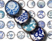 Asian Blue Porcelain (4) Digital Collage Sheet - circles 1/2 inch - 12mm - 48 Motifs - 252 Tiles - see promo