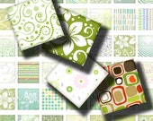 Shades of Green (2) Digital Collage Sheet - Muted, Pastel and Bright Designs in Greens 56 Squares 1x1 or smaller - Buy 3 Get 1 Extra Free