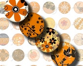 Shades of Orange (3) Digital Collage Sheet - 48 Circles 1inch - 25 mm or smaller sizes available - See Promo Offer