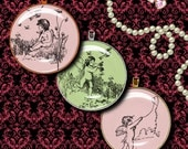 Pink and Green with CUPIDS - 2 Digital Collage Sheets - Circles 1.5 inch - 38mm - smaller available - Buy 3 Get 1 Extra Free