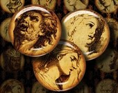 EMOTIONS - Digital Collage Sheet - 16th century sketches of human emotions on parchment - 1.5 inch circles - or smaller - See Promo Offer