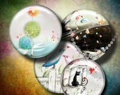 PASTEL LAND - Digital Collage Sheet - 1.5 inch circles or smaller size - Fantasy drawings - Buy 3 Get 1 Extra Free