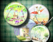 PROVENCE - Digital Collage Sheet - 1.5 inch circles or any smaller size with lavender fields, little cafés and sunshine - See Promo Offer