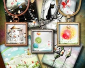 PASTEL LAND - Digital Collage Sheet - Squares 1.5 inch or 1 inch or smaller - Pastel drawings with cats, rainbows for scrabble & jewelry