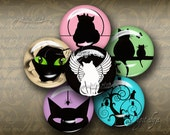 Unique Black Cat Silhouettes on Muted Colors - Digital Collage Sheet - 48 Circles 1 inch  25mm  or smaller - See Promo Offer