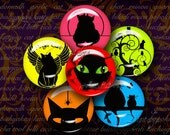 Black Cat Silhouettes on Vibrant Colors - Digital Collage Sheet - 48 Circles 1 inch - 25 mm or smaller - Buy 3 Get 1 Extra Free