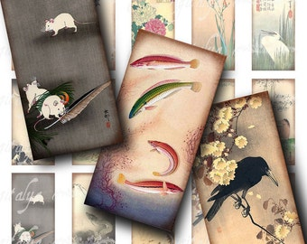 Asian Fauna (2) Digital Collage Sheet - Japanese & Chinese Animal Kingdom - Dominos 1x2 or Bamboo for resin pendant - Buy 3 Get 1 Extra Free