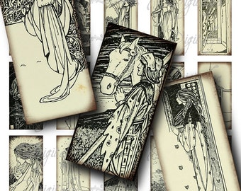 William Morris Poems Vintage stained paper Art Nouveau - Digital Collage Sheet - Domino 1x2 inch or bamboo size - See Promo Offer