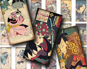 Traditional Samurais (1) Digital Collage Sheet - Japanese Warriors - 30 different Dominos 1x2 inch or bamboo size - Buy 3 Get 1 Extra Free