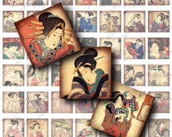 JAPANESE LADIES (2) Digital Collage Sheet with Women from Old Time Japan - 56 Squares 1x1 or smaller for resin pendant, scrabble