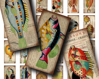 Weird Colorful Fishes (2) Digital Collage Sheet - Dominos 1x2 inch or for Bamboo .75x1.5 in - Sea creatures - Buy 3 Get 1 Extra Free