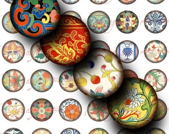 Asian Ornament (1) Digital Collage Sheet - Circles 1inch - 25mm or smaller - Buy 3 Get 1 Extra Free