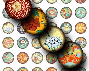Asian Ornament (3) Digital Collage Sheet - Circles 1inch - 25mm or smaller - Buy 3 Get 1 Extra Free