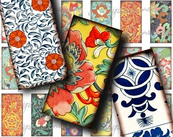 Asian Ornament (7) Digital Collage Sheet - Ancient Chinese, Japanese prints - 30 Dominos 1x2 inch or bamboo size - Buy 3 Get 1 Extra Free