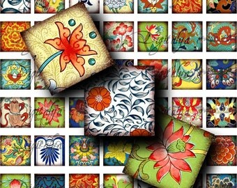 Asian Ornament (4)  Digital Collage Sheet - Squares 1x1 or smaller or scrabble - Buy 3 Get 1 Extra Free
