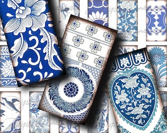 Blue on White Oriental Florals - Asian Blue Porcelain (1) Domino 1x2 inch or Bamboo size - Digital Collage Sheet - Buy 3 Get 1 Extra Free
