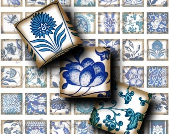 Asian Blue Porcelain (3) Digital Collage Sheet  - Squares 1 inch - 25mm or 0.875 inch or scrabble size - Buy 3 Get 1 Extra Free