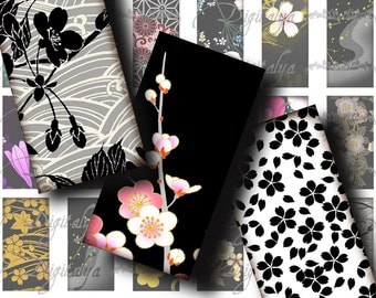 Japanese Design Black (1) Digital Collage Sheet - Domino 1x2 inch or bamboo size - Buy 3 Get 1 Extra Free