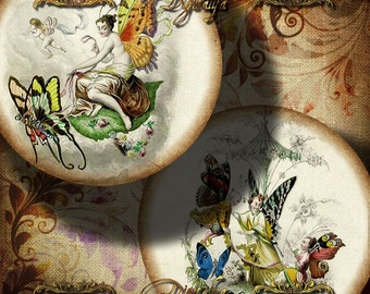 A WORLD OF FAIRIES - Digital Collage Sheet - 12 circles 2.5 inch - 63mm  Pocket Mirror - see promo offer - Instant Download