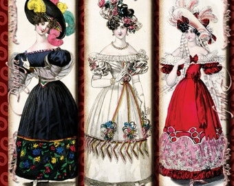 Elegance From Yesteryear (1) Digital Collage Sheet - Fashion Plates from the 19th century - Microslides 1x3 inch - See Promo Offer