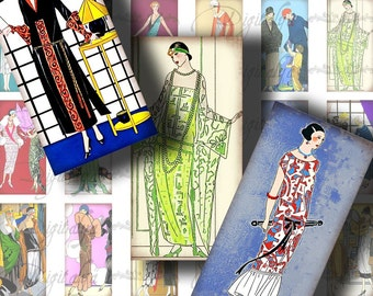 Parisian Elegance 1920s (1) Digital Collage Sheet - Fashion Plates from the French Art Deco Period - 30 Domino 1x2 inch - See Promo Offer