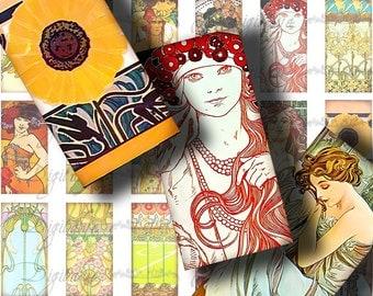 Mucha Art Nouveau (2) Digital Collage sheet - Wonderful Art from Alphonse Marie Mucha - Dominos 1x2 inch - Buy 3 Get 1 Extra Free