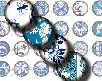 Asian Blue Porcelain (2) Digital Collage Sheet with Ancient Chinese indigo florals - 48 Circles 1inch - 25mm or smaller -  see promo