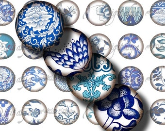 ASIAN BLUE PORCELAIN (4) Digital Collage Sheet - 48 different Circles 1inch - 25mm or 12mm or other sizes - See promo  offer