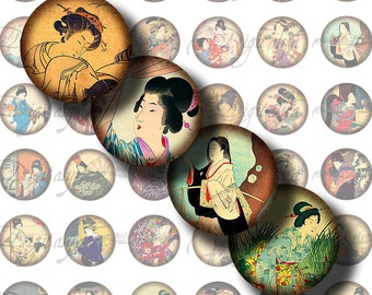 Japanese Ladies (4) Digital Collage Sheet - Circles 1inch 25mm or smaller - Traditional Asian women in kimono - Buy 3 Get 1 Extra Free
