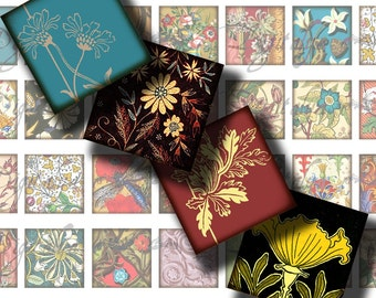 Foliage (2) Digital Collage Sheet - Floral Art Medieval Renaissance Oriental Squares 1x1 or smaller or scrabble - Buy 3 Get 1 Extra Free