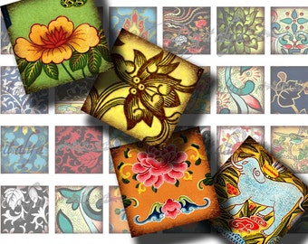 Asian Ornament (9) Vintage floral from Asia - Digital Collage Sheet - 56 Different Squares 1x1 inch or smaller - See Promo Offer