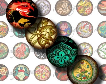 Asian Ornament (11) Digital Collage Sheet with Vintage Flourishes from Orient - Circles 1inch - 25mm or smaller - Buy 3 Get 1 Extra Free