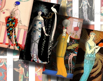 1920s Evening Gala, French Soirée, Art Deco Fashion - Digital Collage Sheet - Dominos inch 1x2 or Bamboo size - Buy 3 Get 1 Extra Free