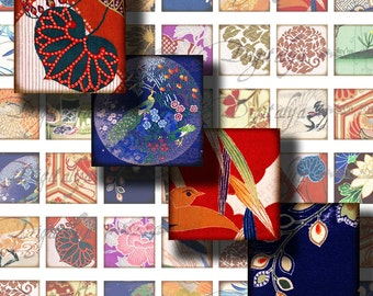 Digital Collage Sheet - Traditional Kimono Fabrics (1) for scrabble and pendant - 56 Squares 1x1 - See Promo Offer