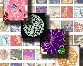 Kimono Fabrics (3) Digital Collage Sheet - 56 Squares 1 inch or for scrabble and pendant - Buy 3 Get 1 Extra Free