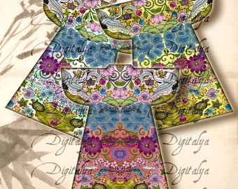 ASIAN KIMONOS (4) Digital Collage Sheet - cut out shapes for tags, ATC, paper craft - Instant Download - Buy 3 Get 1 Extra Free