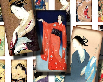 Japanese Ladies (2) Digital Collage Sheet with VIntage Asian beauties - Dominos 1x2 inch or Bamboo size for pendant - Buy 3 Get 1 Extra Free