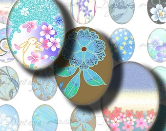 Japanese Design Blue (1) Digital Collage Sheet - Voguish Asian Motifs - Ovals 30x40mm or 18x25mm or other sizes - see promo