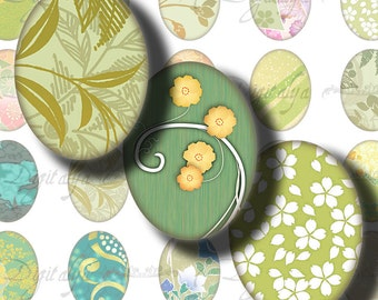 Japanese Design Green (1) Digital Collage Sheet - Ovals 30x40mm or 18x25mm or other sizes available - Buy 3 Get 1 Extra Free