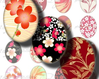 Japanese Design Reds (1) Digital Collage Sheet - Ovals 30x40mm or 18x25mm or other sizes available - See Promo Offer